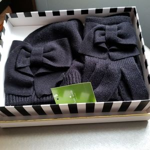 Kate Spade Bow Beanie Hat and Bow Glove Set